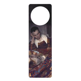 Une fille endormie par Johannes Vermeer Cartons De Porte