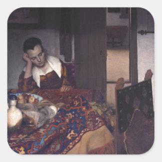 Une fille endormie par Johannes Vermeer Autocollant Carré