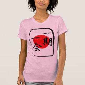 Une fois dans une tuile de kanji d'occasion de vie t-shirt