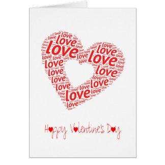 Une grande carte rouge de jour de Valentines du