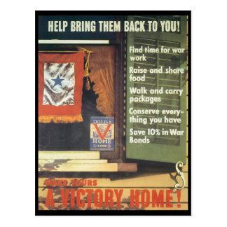 Une guerre mondiale de maison de victoire 2 carte postale
