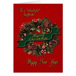 Une guirlande de fête de Noël pour votre parrain Carte De Vœux