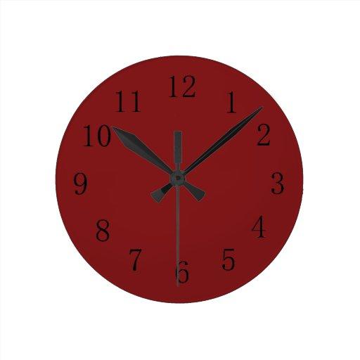 Une horloge murale rouge plus fonc e de cuisine de zazzle for Horloge murale cuisine rouge