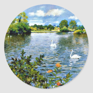 Une illustration de lac long Island Sticker Rond