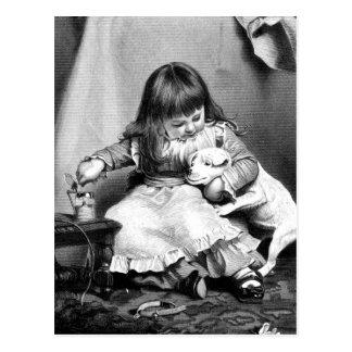 """"""""""" Une illustration vintage patiente peu disposée Carte Postale"""