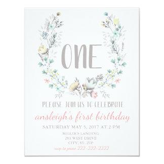 """""""UNE"""" invitation florale de premier anniversaire"""