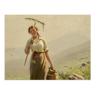 Une jeune femme dans le pré par Hans Dahl Carte Postale