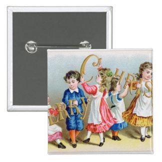 Une joyeuse carte postale victorienne de Christmas Badges