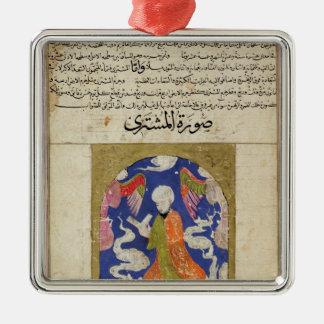 Une lecture d'homme, illustration ornement carré argenté
