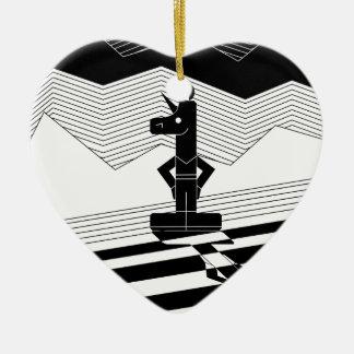 Une licorne de la vie ornement cœur en céramique
