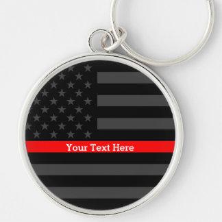 Une ligne rouge mince drapeau des USA personnalisé Porte-clés