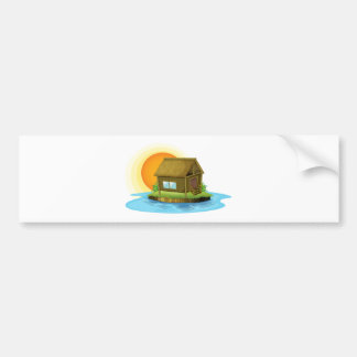 Une maison en bambou en île adhésifs pour voiture