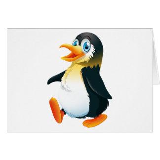 Une marche de pingouin carte de vœux