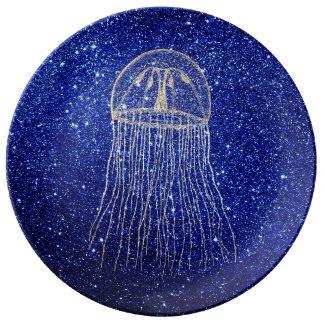 Une marine plus rusée d'Aqua d'or de bleu d'océan Assiette En Porcelaine