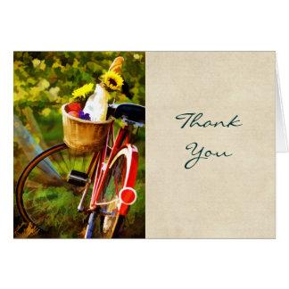 Une miche de pain une cruche de vin et d'un vélo carte de vœux