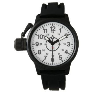 Une montre en caoutchouc de courroie de noir de