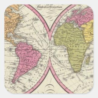 Une nouvelle carte du monde sur la projection autocollants carrés