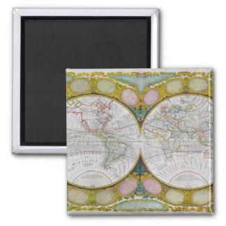 Une nouvelle et correcte carte du monde, 1770-97 magnet carré