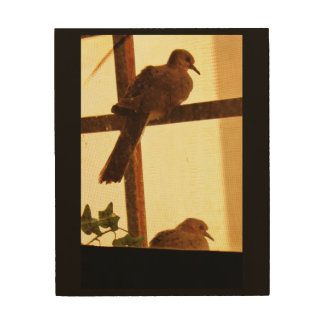 Une paire de colombes impression sur bois