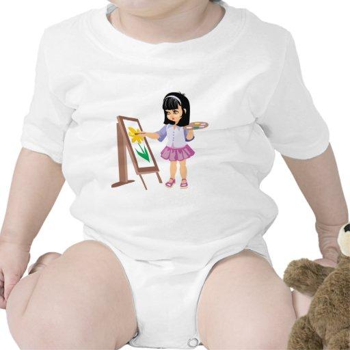 Une petite fille avec une palette de peinture body