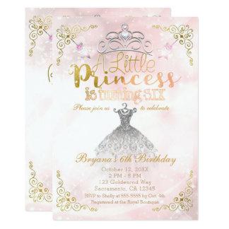 Une petite princesse tournant SIX 6èmes fêtes Carton D'invitation 12,7 Cm X 17,78 Cm