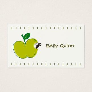 une pomme verte et un petit ver cartes de visite