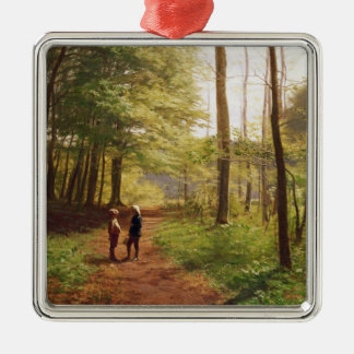 Une promenade dans la forêt ornement carré argenté