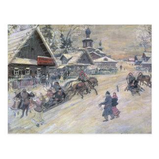 Une promenade de fête, Russie Carte Postale