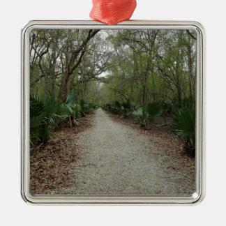 Une promenade en nature ornement carré argenté