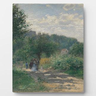 Une promenade par un jardin impressions sur plaque