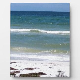 Une promenade sur la plage plaque photo