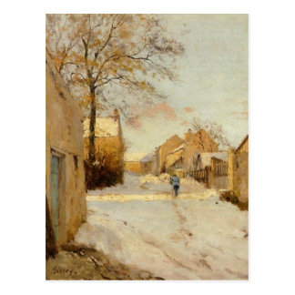 Une rue de village en hiver par Alfred Sisley Carte Postale