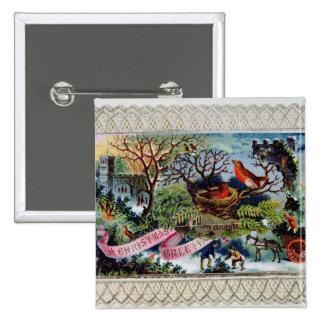 Une salutation de Noël, carte postale victorienne Pin's