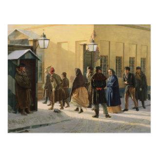 Une scène de rue, en dehors d'une prison, 1868 carte postale