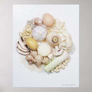 Une sélection des fruits et des légumes blancs affiches