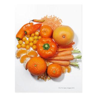 Une sélection des fruits et des légumes oranges cartes postales