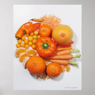 Une sélection des fruits et des légumes oranges posters