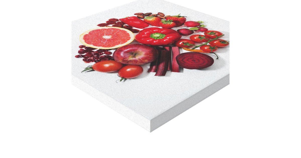 Une s lection des fruits et des l gumes rouges toiles tendues zazzle - Fruits et legumes de a a z ...