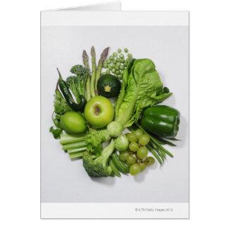 Une sélection des fruits et des légumes verts carte de vœux