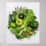 Une sélection des fruits et des légumes verts affiche