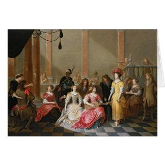 Une société élégante à la musique avant un banquet carte de vœux