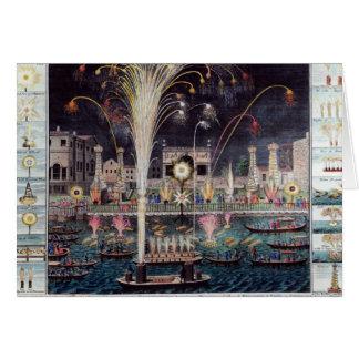 Une vue du Feu-workes et des illuminations Carte De Vœux