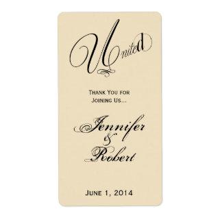 Uni dans l'étiquette en ivoire et noir de vin étiquette d'expédition