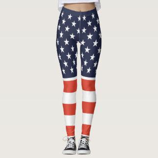 Uni nous tenons des guêtres de drapeau américain leggings