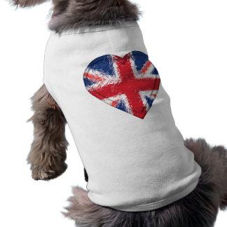 Union Jack a affligé le drapeau de coeur - Grande- Manteaux Pour Animaux Domestiques
