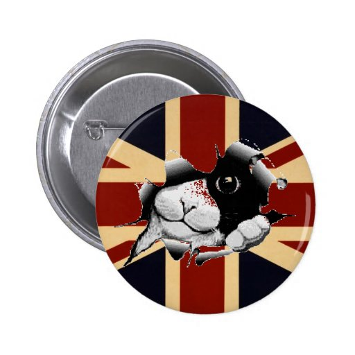 Union Jack drôle les Anglais Kitty Badge Avec Épingle