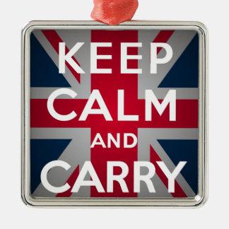 Union Jack gardent le calme et continuent Ornement Carré Argenté