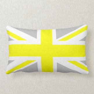 Union Jack gris-clair et jaune Coussin