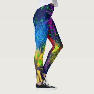 Unique drôle de feux d'artifice colorés leggings