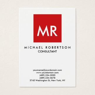 Unique élégant de monogramme blanc rouge de cartes de visite